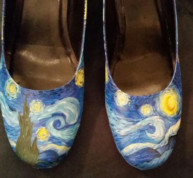 Vincent Van Gogh Starry Night Shoes 1st Try WIP by TheBlueRose7