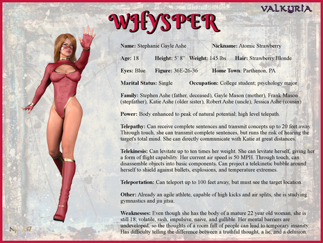 Stephanie Ashe - Whysper Character Card by Nathanomir