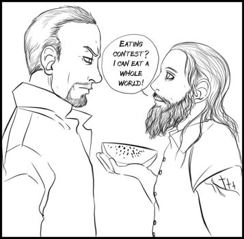 Taker vs Bray - Eating contest by FuriarossaAndMimma