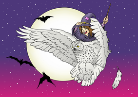 Young witch on snowy owl (colour) by Smully