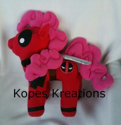 Pinkiepool Pinkie Pie Deadpool Plush Mlp Pony by kopeskreations