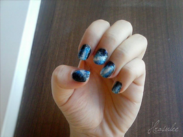 Nail art: Blue Galaxy by Hrasulee