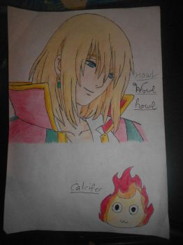 Howl and chibiCalcifer by purepaw