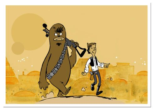 Han and Chewie out for a stroll by littlereddog