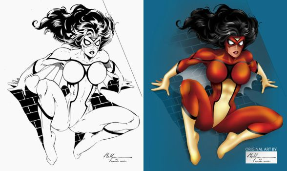Coloring Exercise - Spider-woman by Walden Wong by carlosandisabel