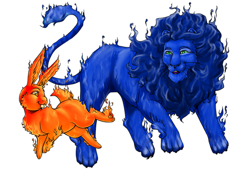 Commission- Fire animals by LunaJMS
