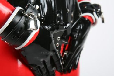 Red and black latex and cuffs by Ange1ica