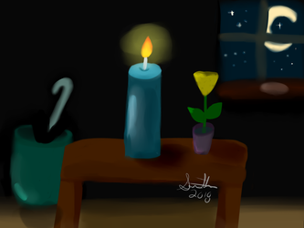 Lit Candle by half-fox-demon1020