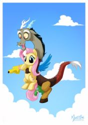 Discord and Fluttershy by mysticalpha