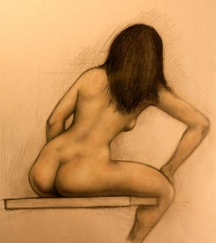 Nude Back - Experiment with Chalk Pastels by DeLumine