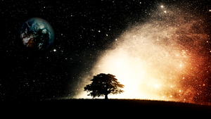 Planet Mars with Tree and Stars by Linux-Shines