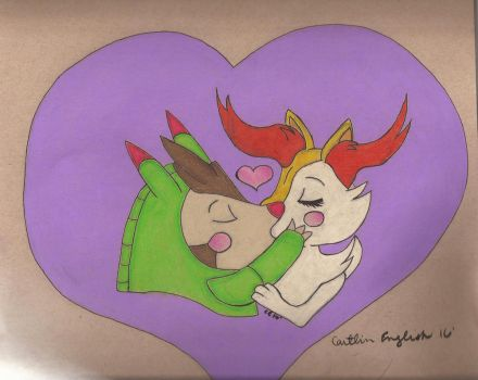 Braxien and Quillidan Ship - Kiss by artcat15