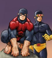 Beast and Cyclops - Colored by NMRosario