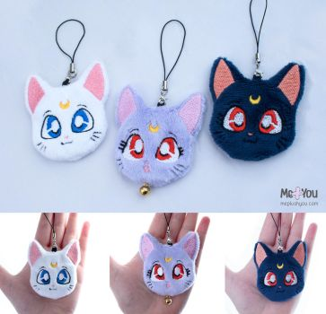Sailor Moon cat plush charms by meplushyou