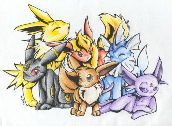 Eevee Posse NOW IN COLOR by floppyneko