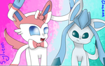 Sylveon And Glaceon by theshadowpony357