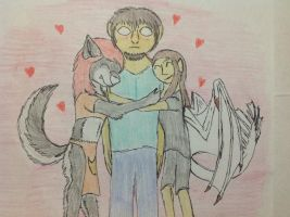 Hugging Herobrine by RainbowGuppy1