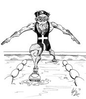 Olympic Swimmer Jesus by OuthouseCartoons