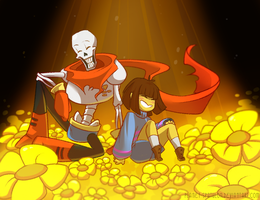 Huevember Day 1: Papyrus and Frisk by Planet-Spatulon