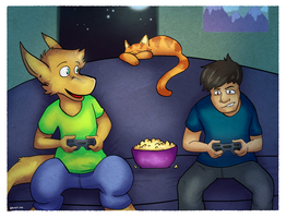 Multi-Species Game Night (commission) by bugbyte