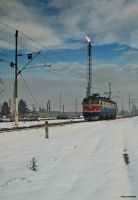 Train in snow by siscanin