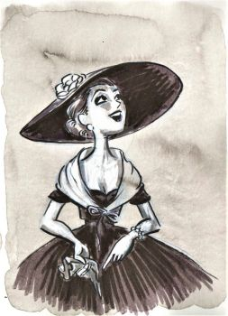Fast scetch - Vintage girl by AngelinaKrasnaya