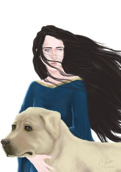 Luthien and Huan by Cris-Nicola