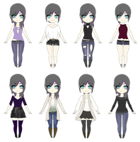 B-Project OC: Sayomi Outfits by azulann