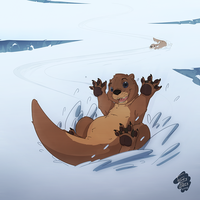 Otter Snow Day by FrostyPuppy