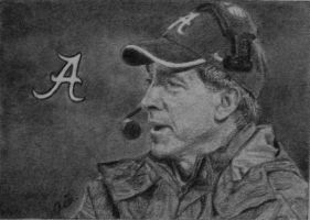 Nick Saban pencil portrait on ATC by TinyAna