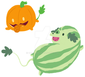 Watermelon and Pumpkin Pups by olivia808