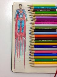 Superman Up Notebook Draw by peritto