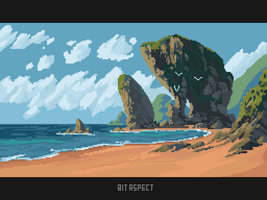 On the beach by 8bitnoob