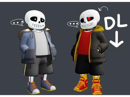 MMD Underfell Sans Model (edit) +NEW DL by SuperBecky