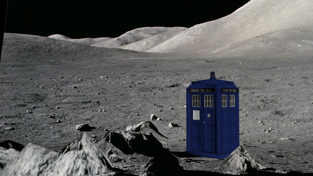 Tardis lands on the moon by loghanwolf