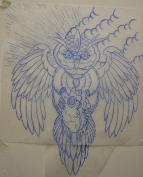 traditional owl and heart by AsatorArise