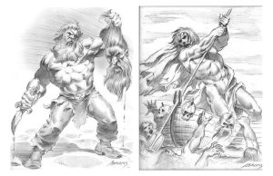 Odin VS the Frost Giant/ Crossing the River Styxx by PaulAbrams