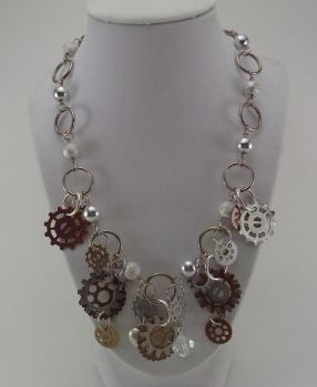 Steampunk Gear Charm Necklace Silver Chain by bookerboots