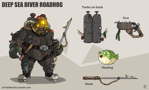 Overwatch fan skin: Deep Sea Diver Roadhog by JoTheWeirdo