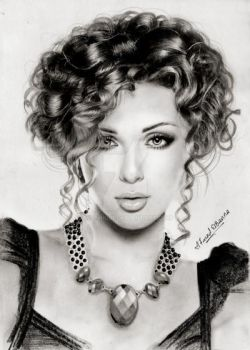 Myriam Fares (pencil) by mathio91