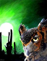 great horned owl by enigmal-insanity
