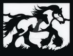 Galloping Draft Horse Papercut by calzephyr