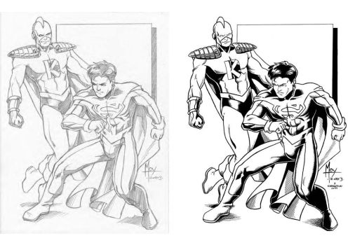 Jeff Moy's Superboy and Kator side-to-side by VikThor