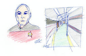 Picard and Enterprise Corridor Sketch by AdamTSC