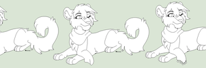 Scarf Lioness Lineart by Kainaa