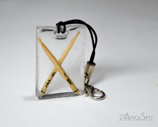 Resin pendant - drumsticks by Angi-Shy