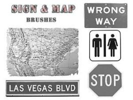 PS Brushes - Signs and Maps by par-me