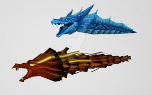 Red and Blue Dragon by Pitermaksimoff