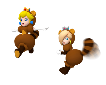 Peach and Rosalina: Tanooki Beauty by BradMan267