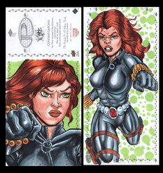 Blackwidow Marvel premiere sketch card by comicsINC
